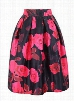 Flower Print High Waist A Line Skirt