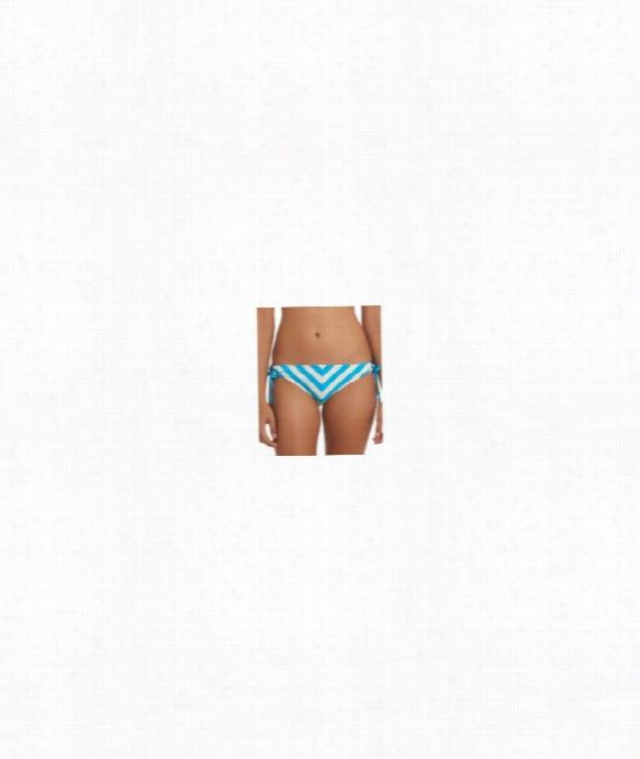 Cabana Stripe Tunnel Side Bikini Bottom Color: Blue Size: M