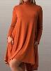 High Neck Orange Long Sleeve Mini Dress