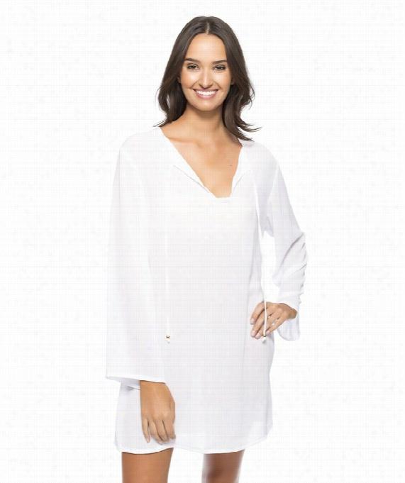 Cabana Solids Tunic Color: White Size: L