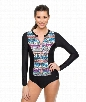 Find Your Chi Long Sleeve Malibu Zip One Piece Color: Black Size: XS