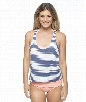 Malibu Stripe Double Dip Tankini Color: Navy Size: M
