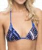 Tie Dye Maze Reversible Triangle Bikini Top Color: Blue Size: L