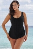 Beach Belle Black Sarong Front 26-34 Swimsuit