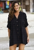 Black Cotton Big Shirt With Crochet